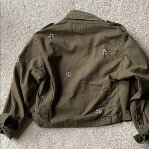 Vintage cropped army military jacket with daisy's